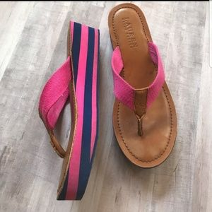 Ralph Lauren hot pink and navy flip flops